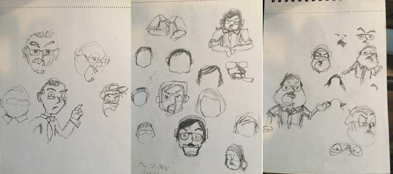 Early character sketches - trying to create a face to match the voice!