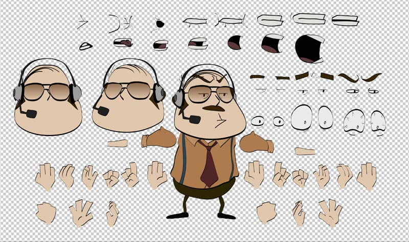 All the parts of the puppet, drawn in Illustrator
