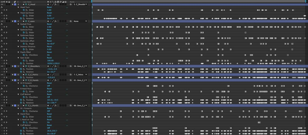 All the keyframes in this project!